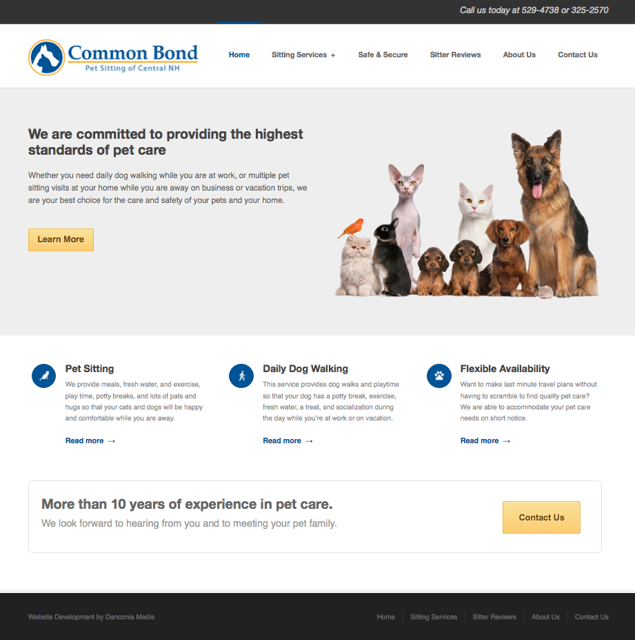 pet sitters web design
